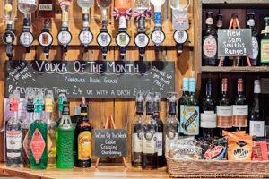Drinks - photo of drinks behind the bar at the Malt Shovel Tavern